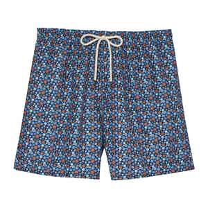 Ground Blue Mini Flowers Swimming Shorts