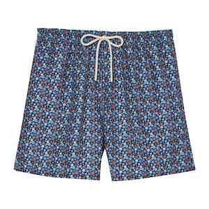 Ground Blue Mini Flowers Swimming Shorts