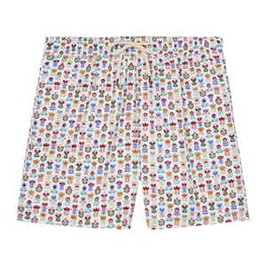 White Flowers Swimming Shorts