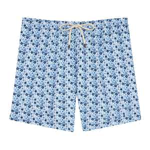 White Mini Flowers Swimming Shorts