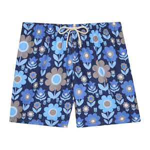 Blue Large Floral Print Swimming Shorts