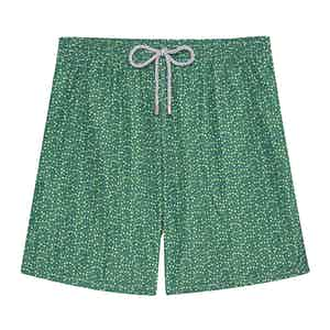 Green Mini Flowers Swimming Shorts