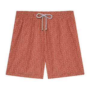 Dark Orange Mini Flowers Swimming Shorts