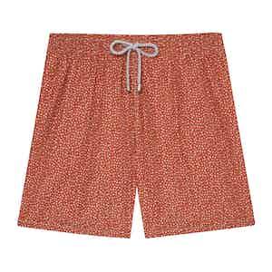 Dark Orange Mini Flowers Swimming Shorts
