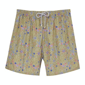 Brown Floral Swimming Shorts