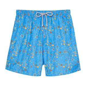 Light Blue Flowers Swimming Shorts