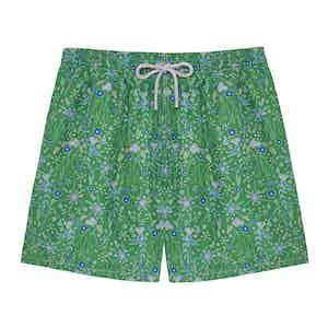 Ground Green Flowers Swimming Shorts