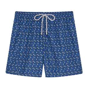 Ground Blue Mini Floral Swimming Shorts