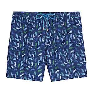 Blue Seahorse Swimming Shorts