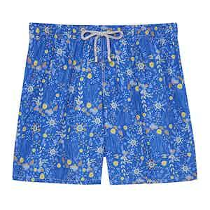 Ground Blue Flower Swimming SHorts
