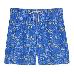 Ground Blue Flower Swimming SHorts