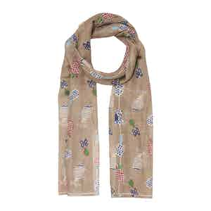 Light Brown Pineapple Cotton and Linen Scarf