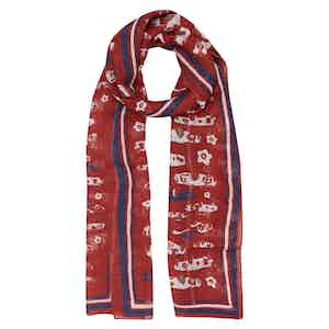 Red Machine Cotton and Linen Scarf