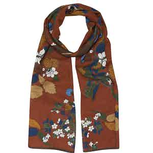 Beige Floral Cotton and Silk Scarf