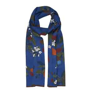 Blue Floral Cotton and Silk Scarf