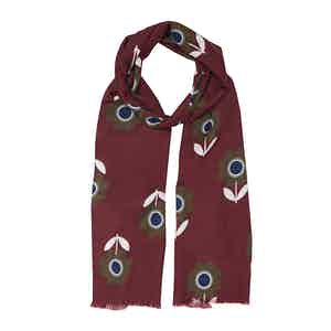 Bordeaux Fumagalli Flower Cotton and Silk Scarf