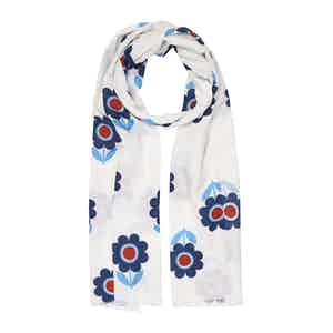 White Fumagalli Flower Cotton and Silk Scarf