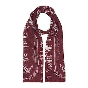Bordeaux Sea Cotton and Silk Scarf