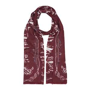 Bordeaux Sea Cotton and Silk Scarf