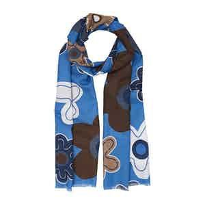 Light Blue Fumagalli Flower Cotton and Silk Scarf