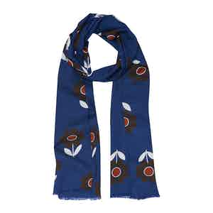 Blue Flower Cotton and Silk Scarf