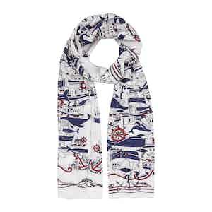White Sea Cotton and Silk Scarf