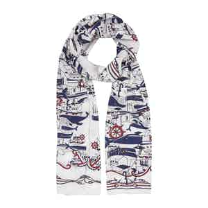 White Sea Cotton and Silk Scarf
