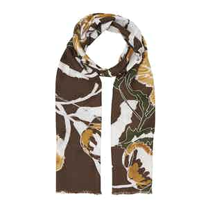 Brown Floral Cotton and Silk Scarf
