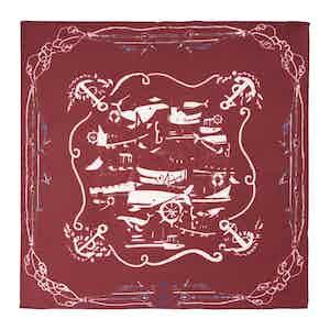 Bordeaux Sea Cotton and Silk Pocket Square