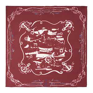 Bordeaux Sea Cotton and Silk Pocket Square