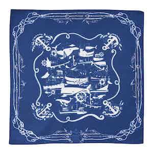 Blue Sea Cotton and Silk Pocket Square