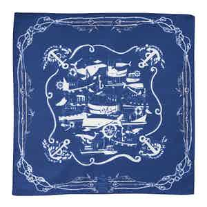 Blue Sea Cotton and Silk Pocket Square