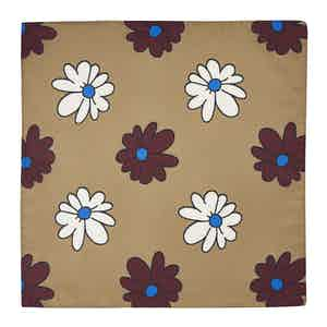 Gold Floral Cotton and Silk Pocket Square