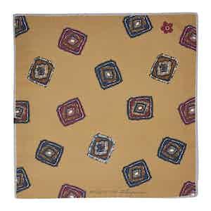 Gold Diamond Cotton and Silk Pocket Square
