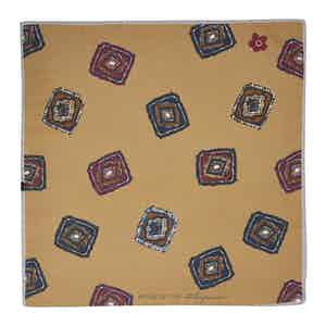 Gold Diamond Cotton and Silk Pocket Square
