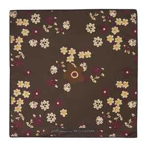 Brown Floral Cotton and Silk Pocket Square