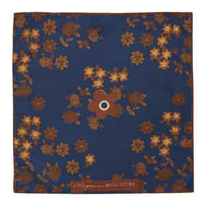 Blue Floral Cotton and Silk Pocket Square