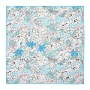Light Blue Flowers Cotton and Linen Pocket Square