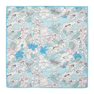 Light Blue Flowers Cotton and Linen Pocket Square