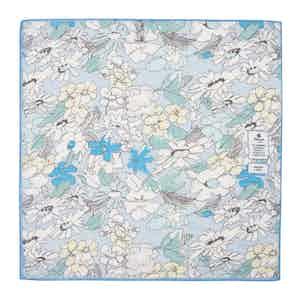 Soft Blue Flowers Cotton and Linen Pocket Square