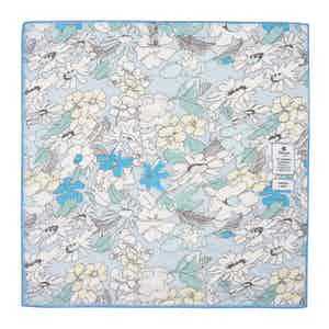 Soft Blue Flowers Cotton and Linen Pocket Square