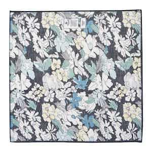 Black Floral Cotton and Linen Pocket Square