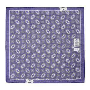 Violet Cotton and Linen Pocket Square