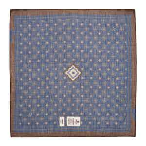 Blue and Brown Diamonds Cotton and Linen Pocket Square