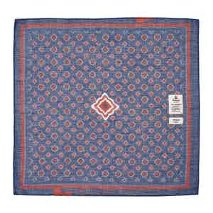 Blue and Red Diamonds Cotton and Linen Pocket Square