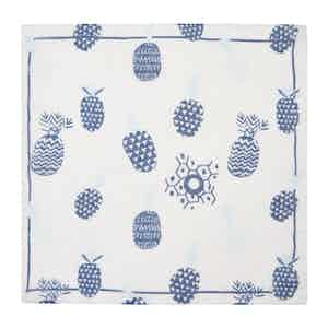 White Pineapple Cotton and Linen Pocket Square