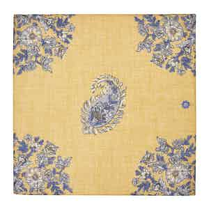 Yellow Melange Cotton and Linen Pocket Square