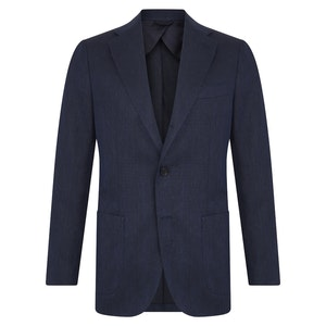 Blue Cotton and Linen Herringbone Single-Breasted Jacket