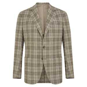 Light Grey & Green Silk-Wool Blend Check Posillipo Jacket