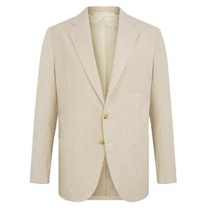 Neutral Stripe Cotton Single-Breasted Coroglio Jacket